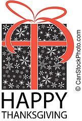 ação graças, cartão, feliz
