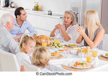ação graças, família, desfrutando, jantar