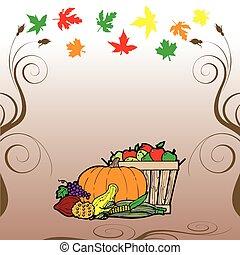 ação graças, fruta, veg, cartão