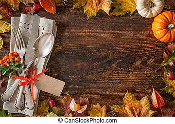 ação graças, outono, coloque