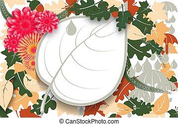 ação graças, outono, invitation., papel, desenho, maple, festival, carvalho, cartaz, saudação, estação, leaf., bolotas, white., fundo, outono, flores, bandeira, dia, cartão, folhas, venda, ou