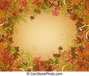 ação graças, outono, outono, borda