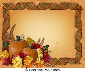 ação graças, outono, outono, borda, fitas