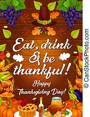 ação graças, outono, vetorial, feriado, colheita, cartão