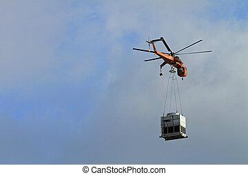 ação, helicóptero, levantamento