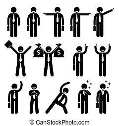 ação, homem negócios, poses, feliz