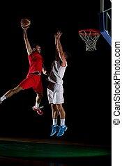 ação, jogador, basquetebol