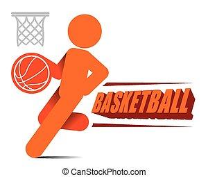 ação, jogador, basquetebol, vetorial, ícone