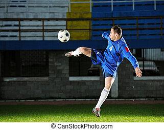 ação, jogador, futebol
