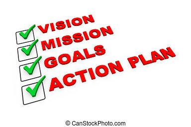 ação, lista de verificação, plano, negócio, 3d