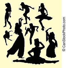 ação, menina, dançar, silueta, movimento