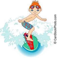 ação, menino, surfista