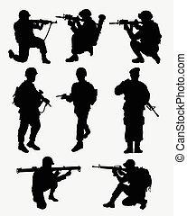 ação, militar, silhuetas, exército