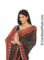 ação, mulher, sari, saudações