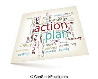 ação, plano, conceito, -, palavra, nuvem, marketing