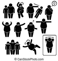 ação, poses, posturas, homem gordo