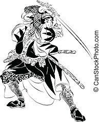 ação, samurai, ilustração