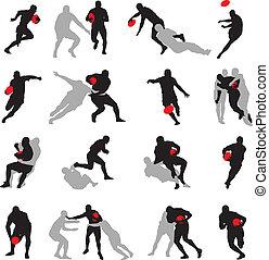 ação, silueta, poses, grupo, rúgbi