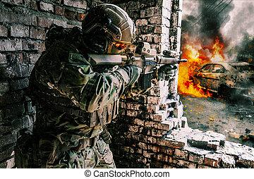 ação, soldado, exército