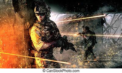 ação, soldados, exército