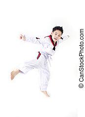 ação, taekwondo, menino, asiático, cute