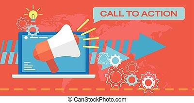 ação, teia, chamada, marketing