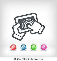 ação, touchscreen, ícone