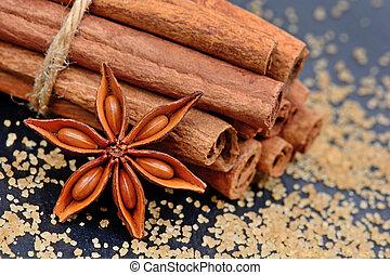 açúcar marrom, com, varas canela, e, anis estrela