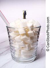 açúcar, mortos, bebida, cubos