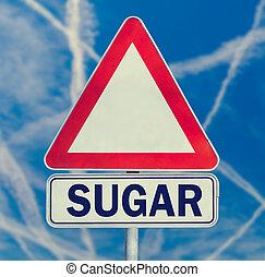 açúcar, perigo, sinal aviso