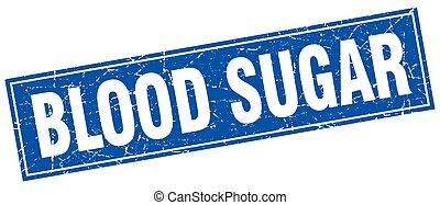 açúcar sangue, quadrado, selo