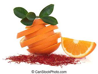 açafrão, tempero, e, laranja, fruta