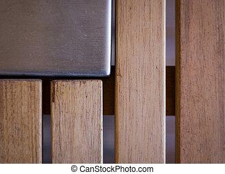 aço, abstratos, madeira, fundo