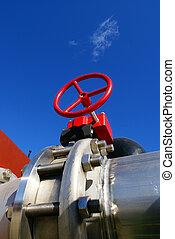 aço, azul, industrial, oleodutos, céu, contra, zona,...