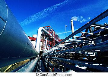 aço, azul, industrial, oleodutos, céu, contra, zona, ...