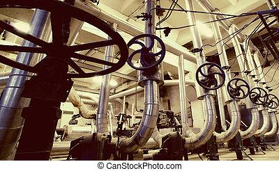 aço, azul,  Industrial, Oleodutos, zona, tons