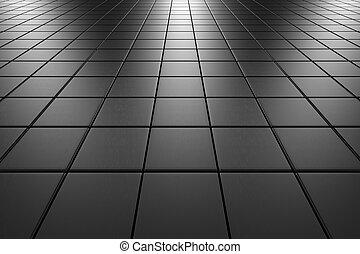 aço, azulejos, perspectiva, pavimentando, vista