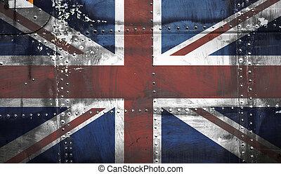 aço, bandeira união, macaco, fundo