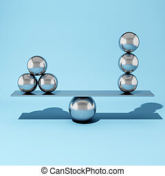 aço, bola, equilibrar