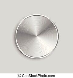 aço, botão, metal, superfície, realístico, escovado, circular