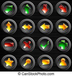 aço, botões, escovado, jogo, pretas