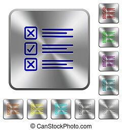 aço, botões, questionário, quadrado, arredondado