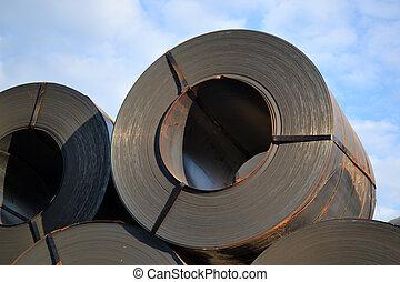 aço, carga, folha, rolos