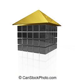 aço, casa, metal, bloco