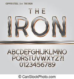 aço, cobre, dígito, vetorial, alfabeto