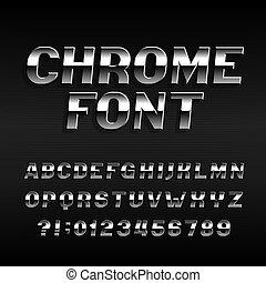 aço, cromo, alfabeto, efeito, letters., símbolos, números, font.