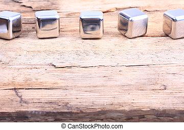 aço, cubos, madeira, abstratos, superfície, experiência.
