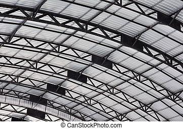 aço, curva, telhado, estrutural