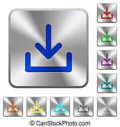 aço, download, botões