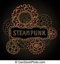 aço, engrenagens, steampunk